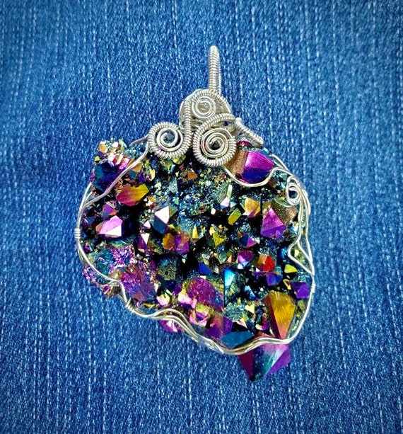 Wrapped Arkansas Rainbow Aura Crystal Cluster Pendant