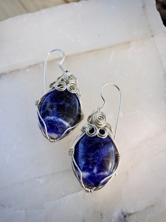 Wrapped Sodalite Earrings