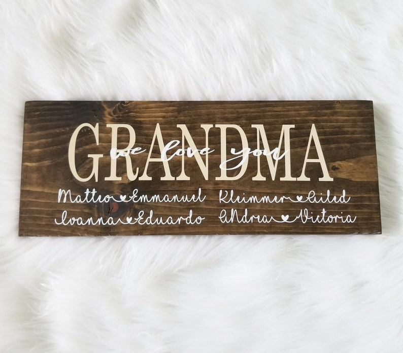 Mom Wood Sign Personalized Wood Sign Decorative Family Wood Handmade Wood Sign Birthday Gift Grandmother Gift Best Seller Wood Sign