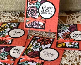 Petal Passion Coral - Greeting Card Set (5)