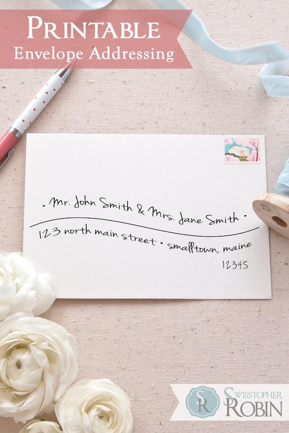 printable a7 envelope address template hand lettered wave etsy