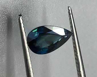 NATURAL Deep Blue Sapphire 0.73ct Pear Cut Thailand Gem 6.8x4.7mm