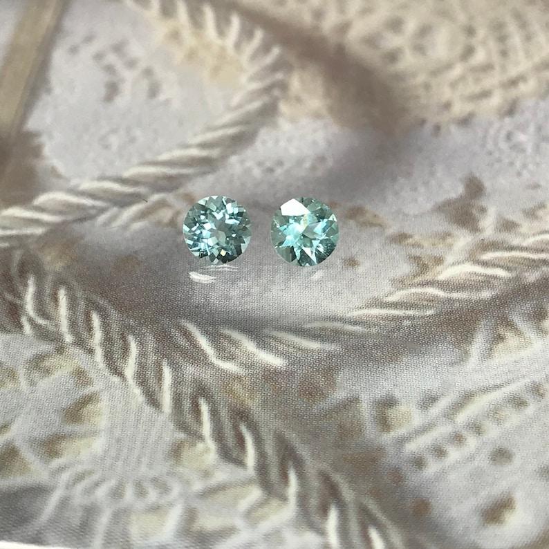 4 mm Natural Cuprian Tourmaline Matching Pair Green Blue 0.25 carat Faceted Loose Gemstone Unmounted Copper Bearing 4mm Round Paraiba