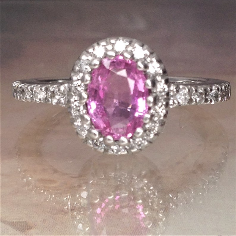 01c5dc00e 7x5 mm Oval Natural Pink Sapphire Halo Diamond Engagement Ring   Etsy