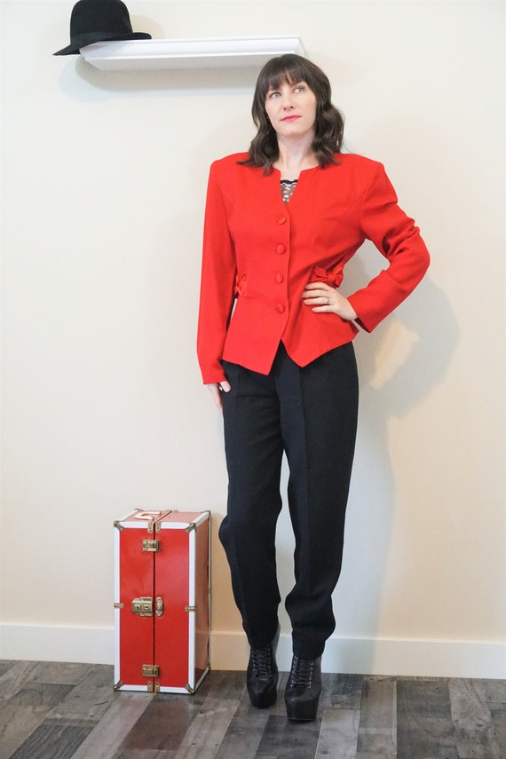 1990s Clueless Red Pant Suit/ Vintage 90s High Wai