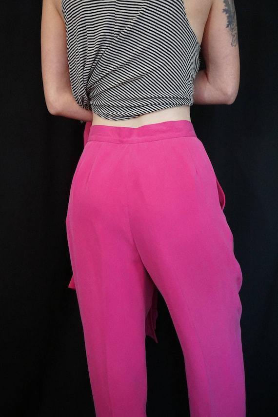 Pink Silk Pant Suit/ Vintage 90s High Waist Pants… - image 10