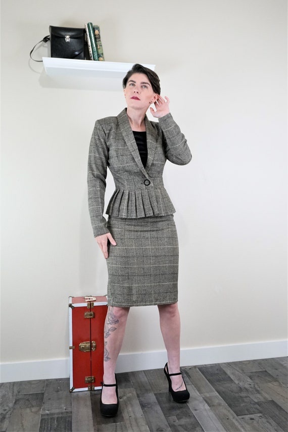 90s Tracy Evans Skirt Suit with Peplum Blazer and