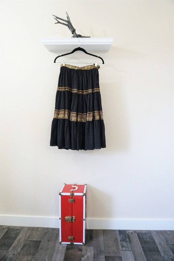 Gold and Black Ric Rac Swing Skirt/ 50s Vintage Bl