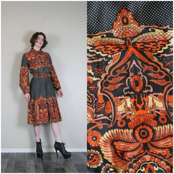 Sidney Lynn Psychedelic Print Silky Shirt Dress/ V