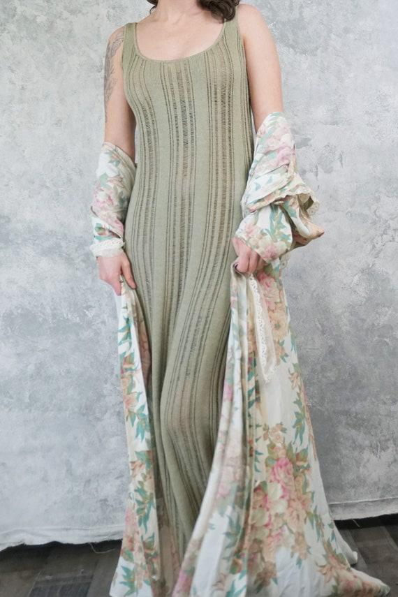 Olive Green Loose Knit Sleeveless Dress/ Semi Shee