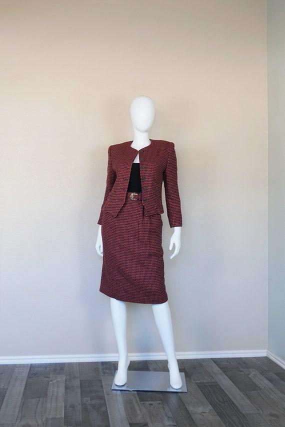 Evan Picone Petites Purple and Pink Wool Suit/ Clu