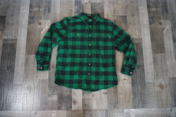 Woolrich Green & Black Plaid Flannel Shirt/ Holida