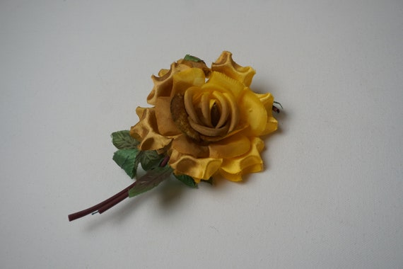 Yellow Rose Brooch Made in Japan/ Vintage Yellow F