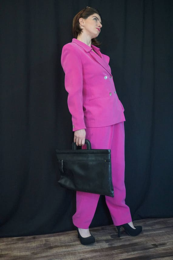 Pink Silk Pant Suit/ Vintage 90s High Waist Pants… - image 5