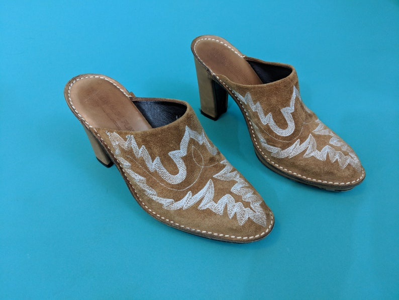 Donald J Pilner Tan Leather Western Clog Heels Donald J Pliner Italy Western Couture Mules Classy Southwestern Style Tan Leather Heels