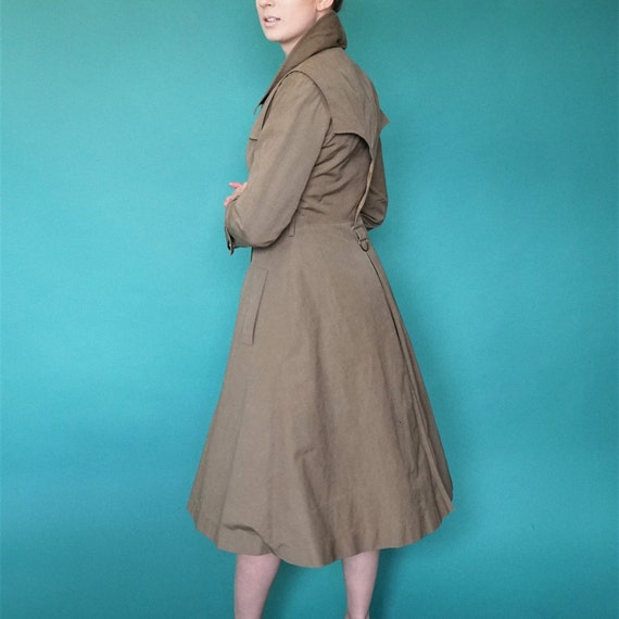 Fitted Princess Trench Coat/ Vintage Olive Green B