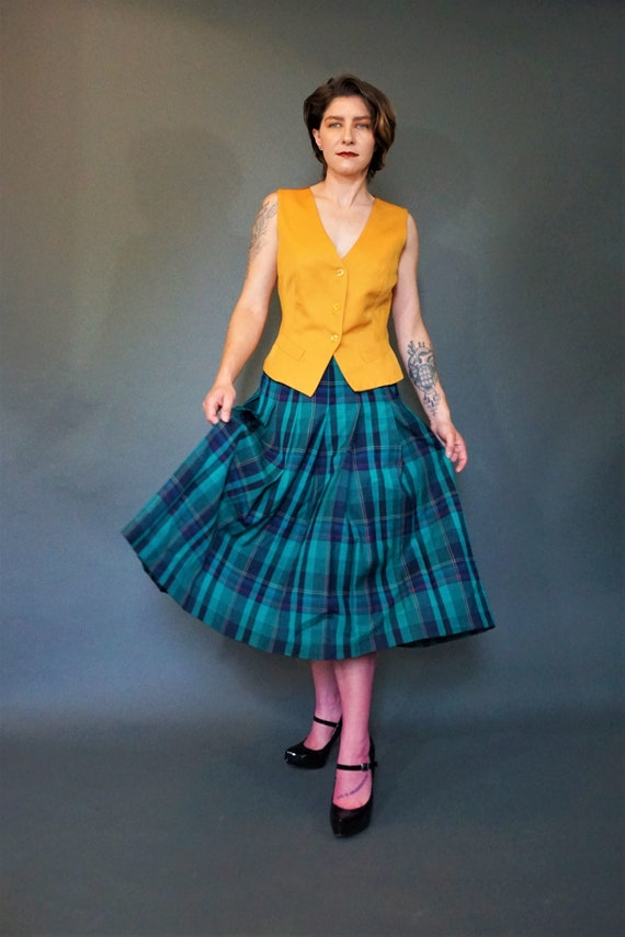 306f58f0dd Green Pleated PENDLETON Midi Plaid Skirt/ Vintage PENDLETON | Etsy