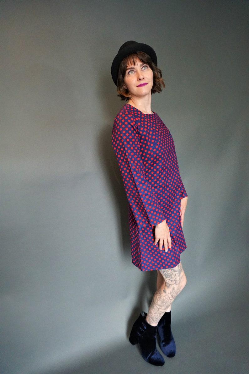 Short Mod Polka Dot Dress Vintage Mini Dress with Bracelet Bell Sleeves 60/'s Mod Navy Blue Dress with Red Polka Dots Twiggy Style Dress