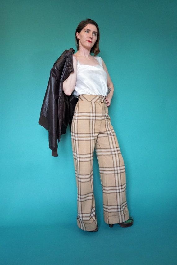 Tan Plaid Wide Leg High Waist Pants/ Vintage 70s H