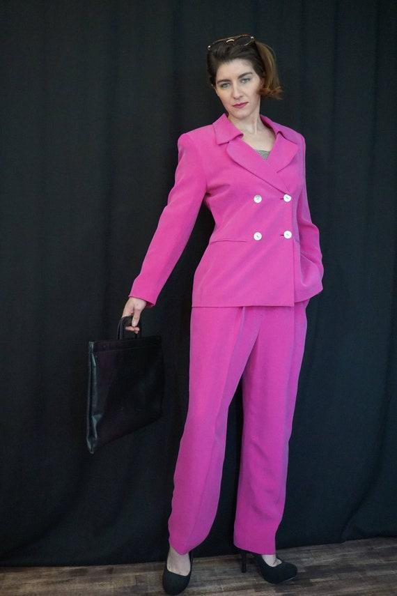 Pink Silk Pant Suit/ Vintage 90s High Waist Pants… - image 3