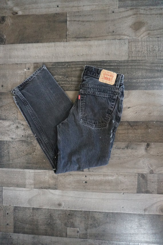Distressed Levis Black Cotton Jean 550 Pants/ 90s