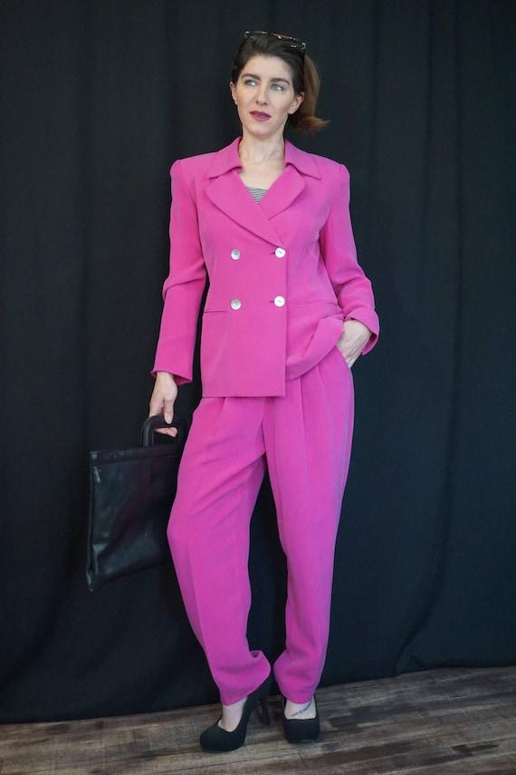 Pink Silk Pant Suit/ Vintage 90s High Waist Pants… - image 2