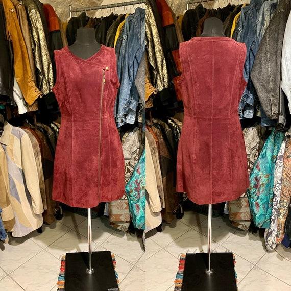 Vintage burgundy leather dress, suede leather dres