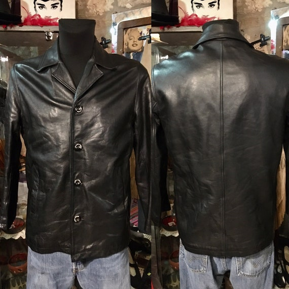 1990s Chevignon black leather jacket, waisted leat