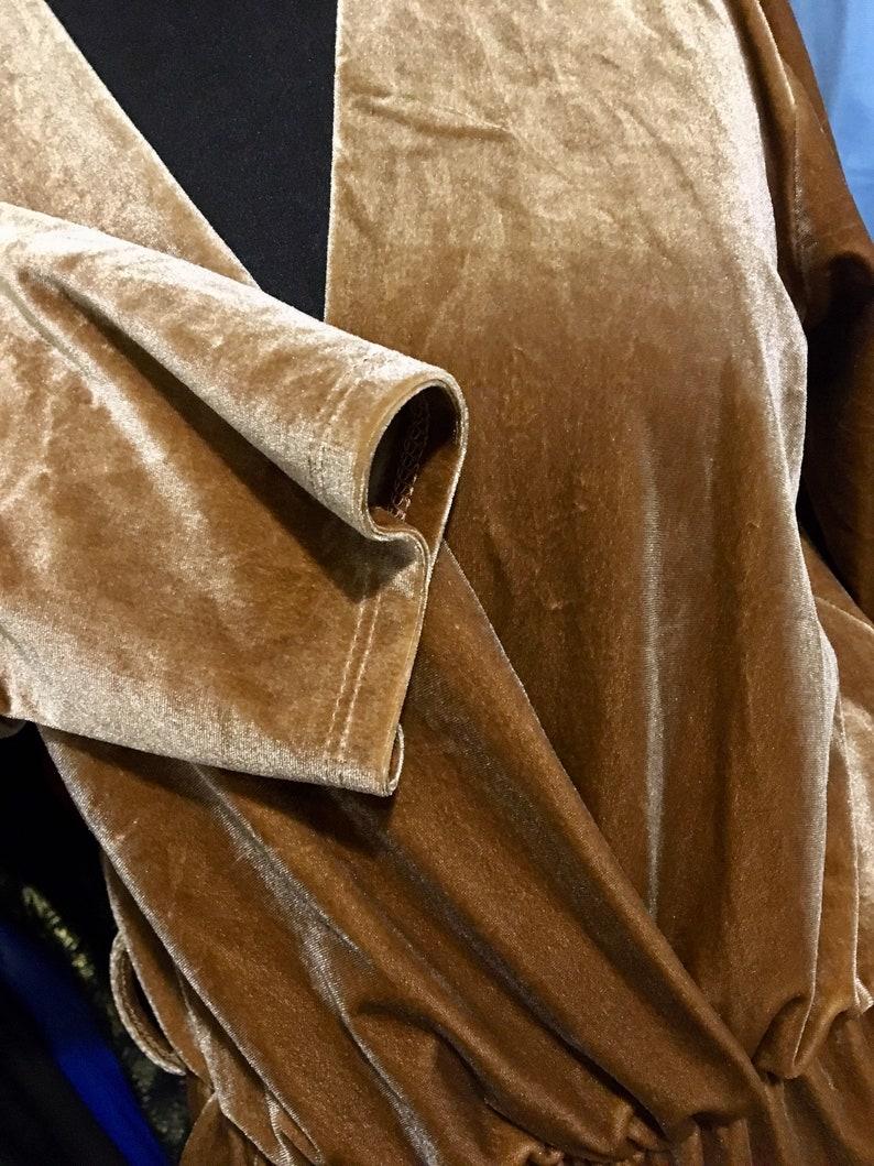 Vintage brown velvet jumpsuit long sleeves velvet overall Size S Code:2982