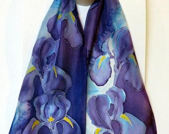 "Designer Scarf. Blue Iris. Original design, hand painted silk. Hand hemmed and hand washable. Made in Canada. 11""x57"" (28cm x 145cm)"