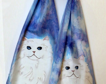 """Cat Scarf. White Persian. Original design, hand painted silk. Hand hemmed and hand washable. Made in Canada. 11""""x57"""" (28cm x 145cm)"""
