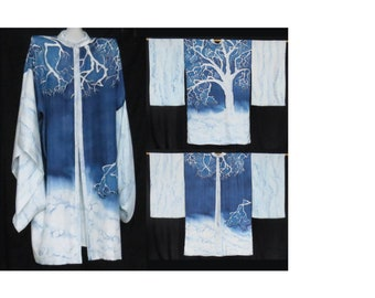 One of a Kind, Hand painted Silk Kimono, one size
