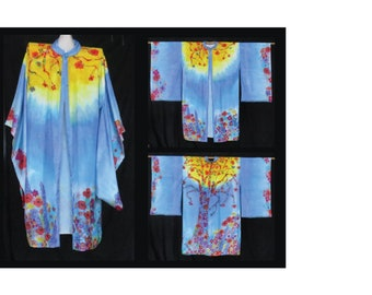 One of a Kind, Handpainted Silk Kimono, one size