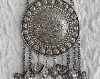 Antique Chinese large silver medallion necklace