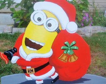 sant clause minion is ready to go christmas is coming fast lawn signs