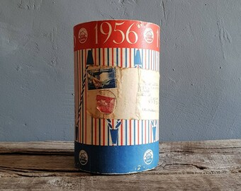 1950s French Packaging In Red Blue With Original Address Label And Postage Stamps