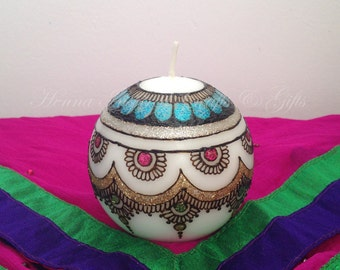Henna Candle, Mehndi Candle, Mehendi, Christmas Gift, Decorative candle, Indian party favor, Round candle, Wedding Favor, Unscented Candle