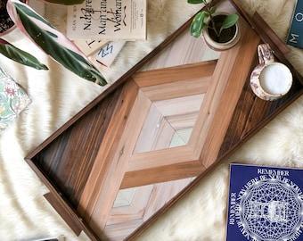 PORTAL Tray with Walnut Handles - Decorative Ottoman Tray - Coffee Table Tray - Geometric Wood Art - Modern Wood Tray - Vanity Tray