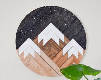MIDNIGHT Wood Wall Art - Mountain Wall Hanging - Boho Wood Art - Round Wooden Wall Art - Modern Wood Art - Round Wood Art - Wood Mosaic