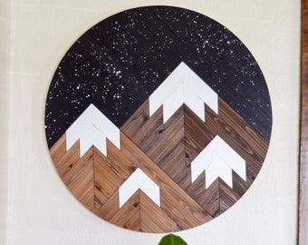 DUSK Wood Wall Art - Mountain Wall Hanging - Boho Wood Art - Round Wooden Wall Art - Modern Wood Art - Round Wood Art - Wood Mosaic