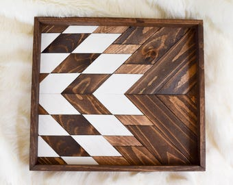 BRIAR Wood Tray - Geometric Wood Wall Art - Wood Catch All - Modern Wood Tray - Decorative Tray - Vanity Tray - Jewelry Tray - Wooden Tray