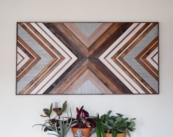 EXPANSION Wood Wall Art - Wood Headboard - Geometric Wooden Artwork for Modern Spaces - Wood Sculpture - Queen Headboard - Wood Mosaic