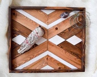 CALICO Wood Tray - Geometric Wood Wall Art - Wood Catch All - Modern Wood Tray - Decorative Tray - Jewelry Tray - Wooden Tray