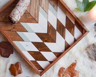 Wood Tray - Geometric Wood Wall Art - Wood Catch All - Modern Wood Tray - Decorative Tray - Vanity Tray - Jewelry Tray - Wooden Tray
