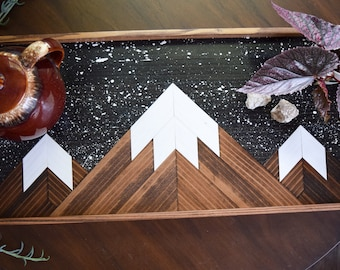 STARRY PEAKS Wood Tray - Modern Serving Tray - Breakfast Tray - Modern Wood Tray - Decorative Tray - Gift for Him