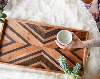 DURANGO Wood Tray - Modern Serving Tray - Breakfast Tray - Modern Wood Tray - Decorative Tray - Gift for Him