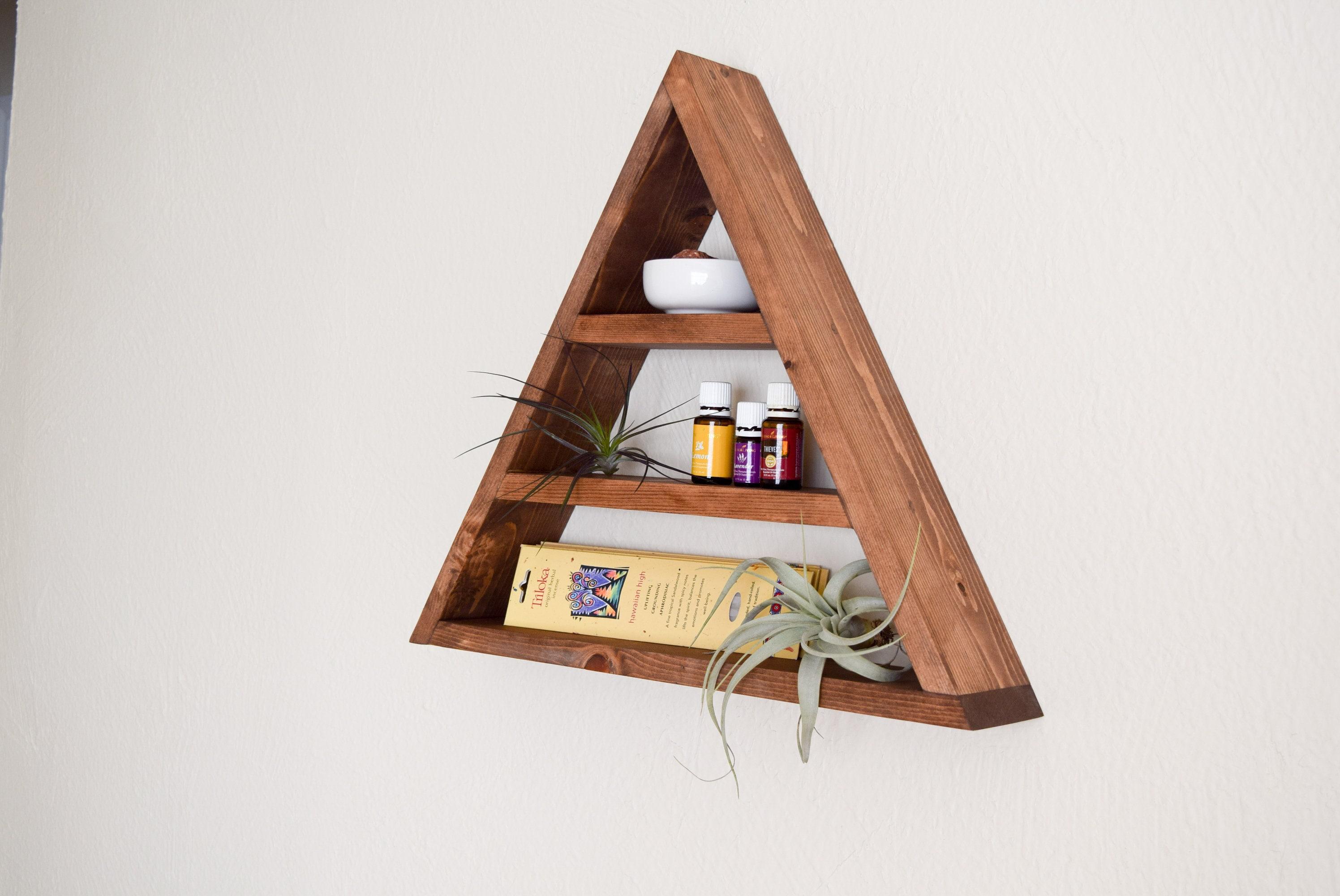 triangle shelf wood floating shelf ref= 1