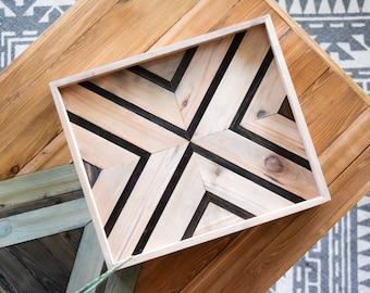 SYMMETRY Wood Tray - Geometric Wood Wall Art - Wood Catch All - Modern Wood Tray - Decorative Tray - Vanity Tray - Couch Tray - Wooden Tray