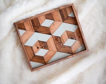 DIMENSIONS Wood Tray - Geometric Wood Wall Art - Wood Catch All - Modern Wood Tray - Decorative Tray - Jewelry Tray - Wooden Tray