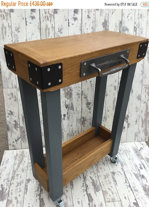 Autumn Sale Cast Iron Handle Painted F&B Solid OAK Butchers Block Hand Made Country Chunky Compact Kitchen Island Trolley